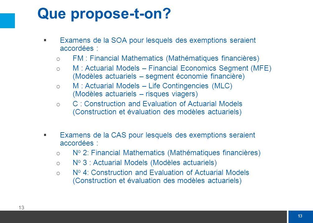 13 Examens de la SOA pour lesquels des exemptions seraient accordées : o FM : Financial Mathematics (Mathématiques financières) o M : Actuarial Models