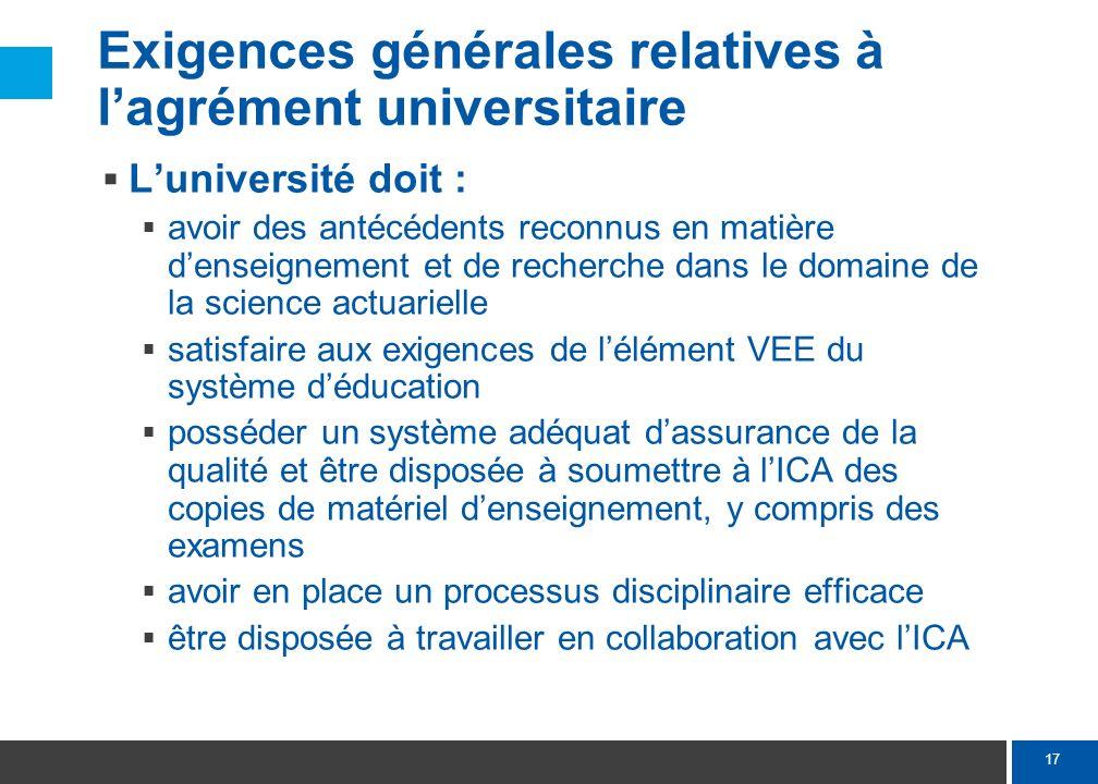 17 Exigences générales relatives à lagrément universitaire Luniversité doit : avoir des antécédents reconnus en matière denseignement et de recherche