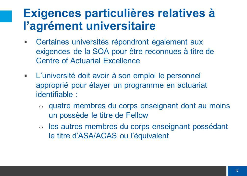 18 Exigences particulières relatives à lagrément universitaire Certaines universités répondront également aux exigences de la SOA pour être reconnues