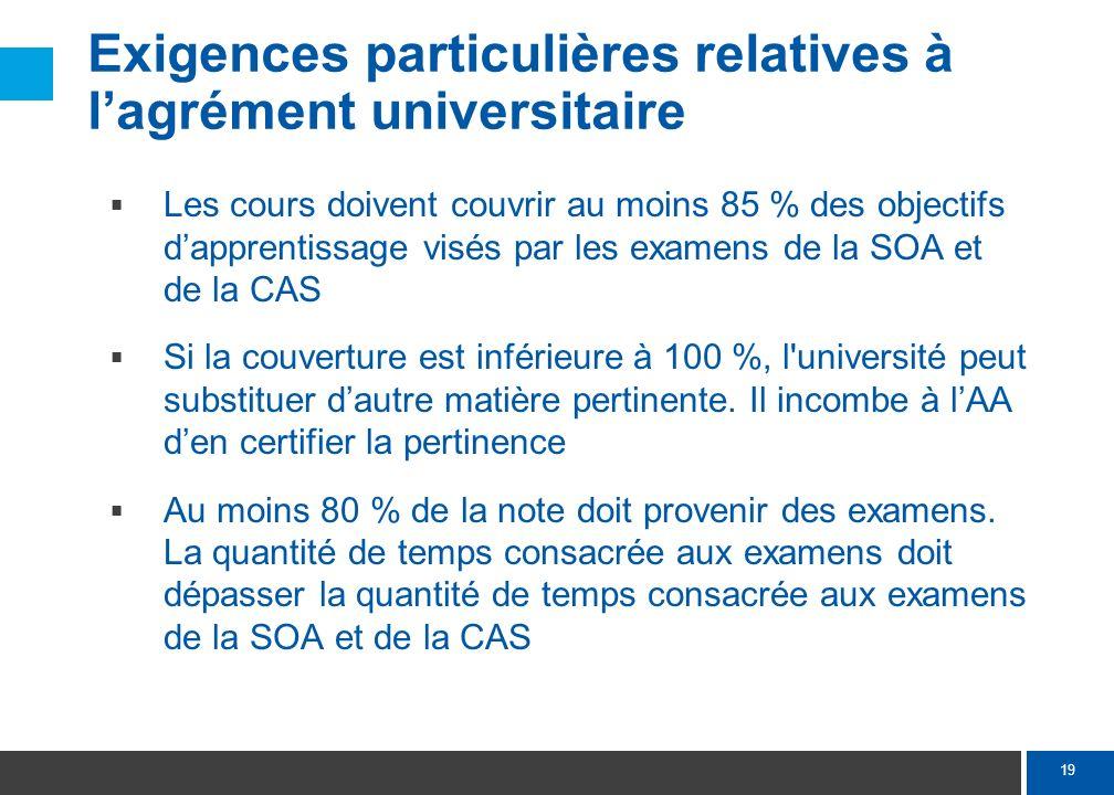 19 Exigences particulières relatives à lagrément universitaire Les cours doivent couvrir au moins 85 % des objectifs dapprentissage visés par les exam