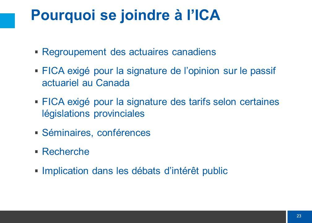 23 Pourquoi se joindre à lICA Regroupement des actuaires canadiens FICA exigé pour la signature de lopinion sur le passif actuariel au Canada FICA exi