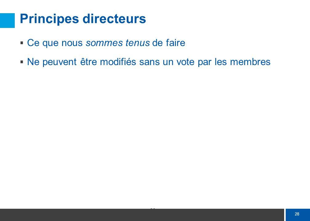28 Principes directeurs Ce que nous sommes tenus de faire Ne peuvent être modifiés sans un vote par les membres