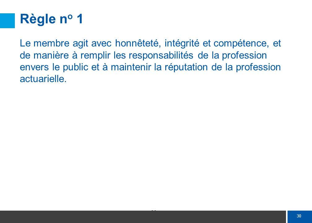 30 Règle n o 1 Le membre agit avec honnêteté, intégrité et compétence, et de manière à remplir les responsabilités de la profession envers le public e