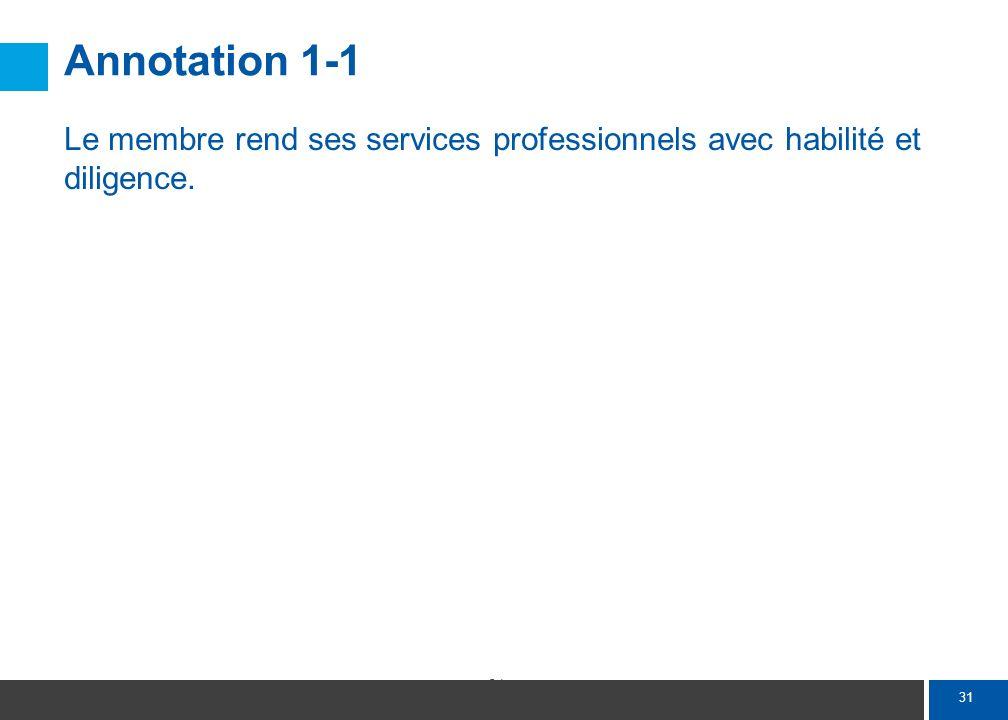 31 Annotation 1-1 Le membre rend ses services professionnels avec habilité et diligence.