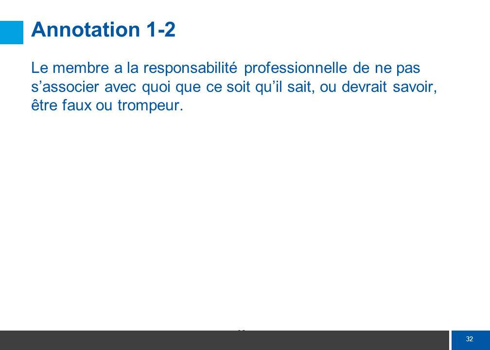 32 Annotation 1-2 Le membre a la responsabilité professionnelle de ne pas sassocier avec quoi que ce soit quil sait, ou devrait savoir, être faux ou t