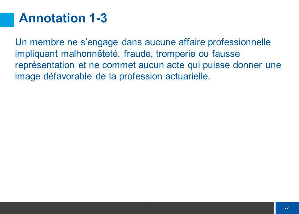 33 Annotation 1-3 Un membre ne sengage dans aucune affaire professionnelle impliquant malhonnêteté, fraude, tromperie ou fausse représentation et ne c