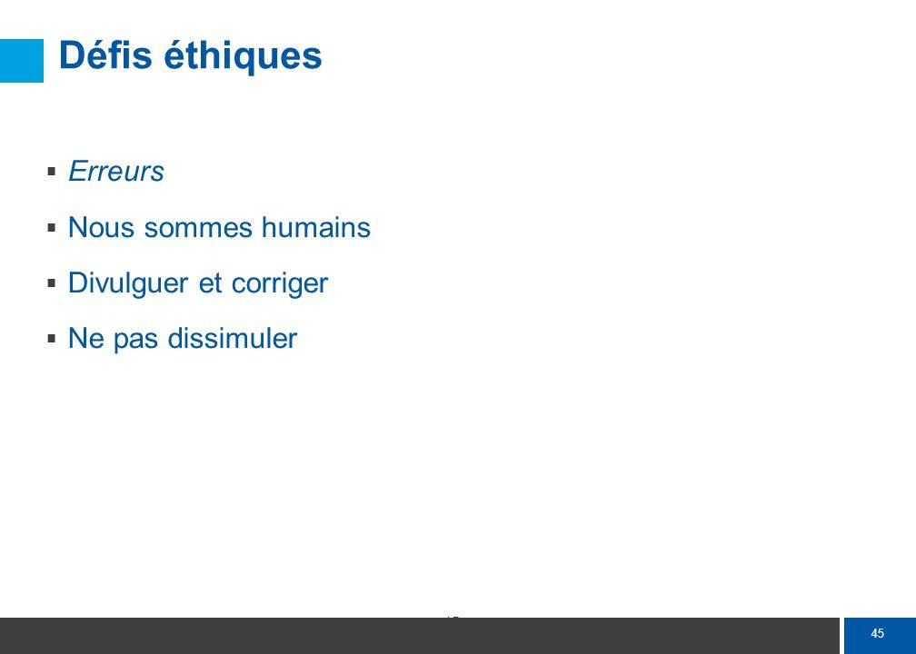 45 Défis éthiques Erreurs Nous sommes humains Divulguer et corriger Ne pas dissimuler