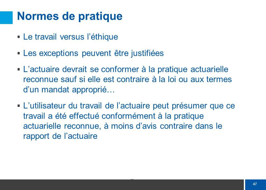 47 Normes de pratique Le travail versus léthique Les exceptions peuvent être justifiées Lactuaire devrait se conformer à la pratique actuarielle recon