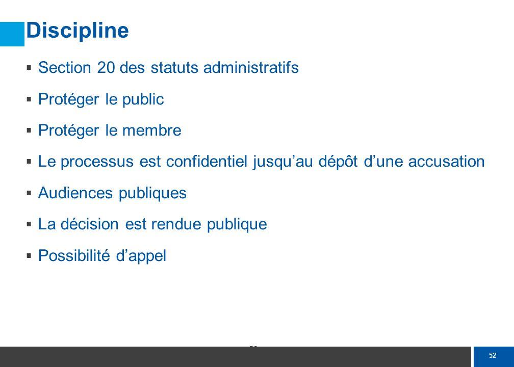 52 Discipline Section 20 des statuts administratifs Protéger le public Protéger le membre Le processus est confidentiel jusquau dépôt dune accusation