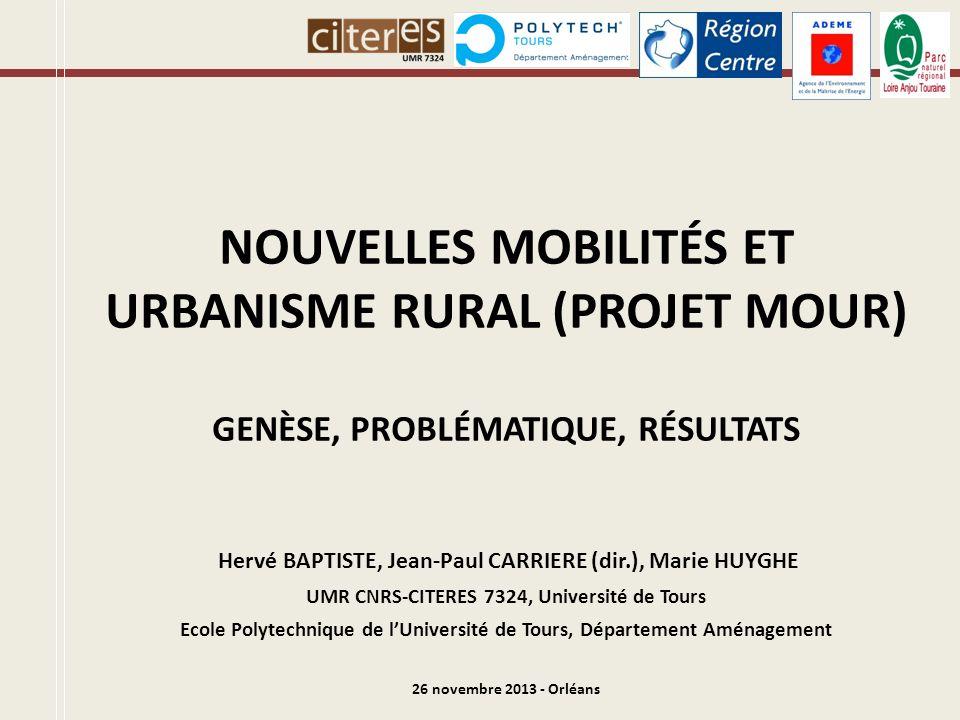 G ENÈSE DU P ROJET MOUR Projet de recherche MOUR (MObilité et Urbanisme Rural) : Nov.