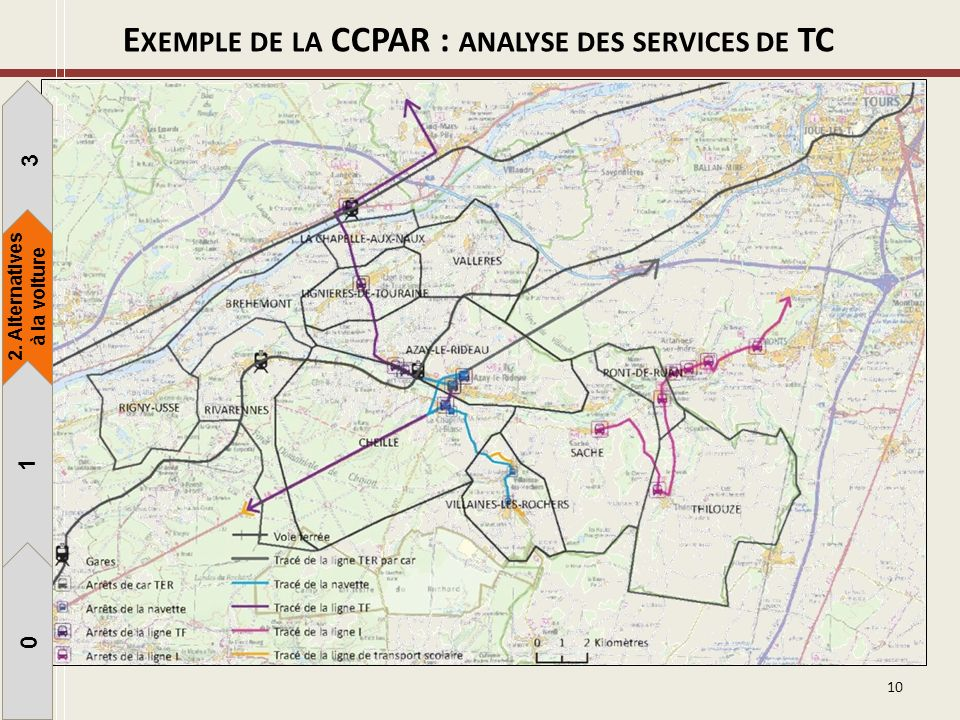10 E XEMPLE DE LA CCPAR : ANALYSE DES SERVICES DE TC 1 3 1 0 2. Alternatives à la voiture