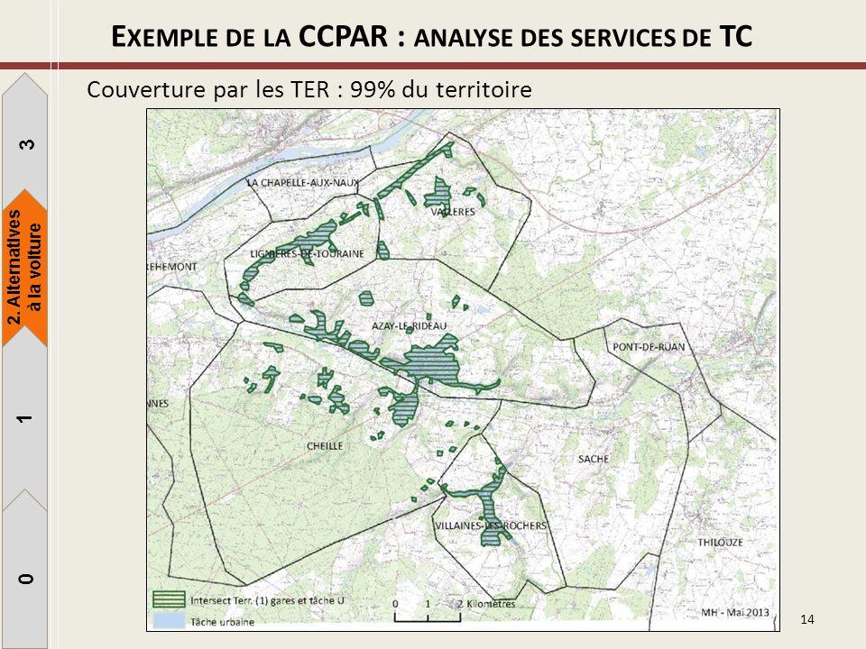 14 Couverture par les TER : 99% du territoire 1 3 1 0 2. Alternatives à la voiture E XEMPLE DE LA CCPAR : ANALYSE DES SERVICES DE TC