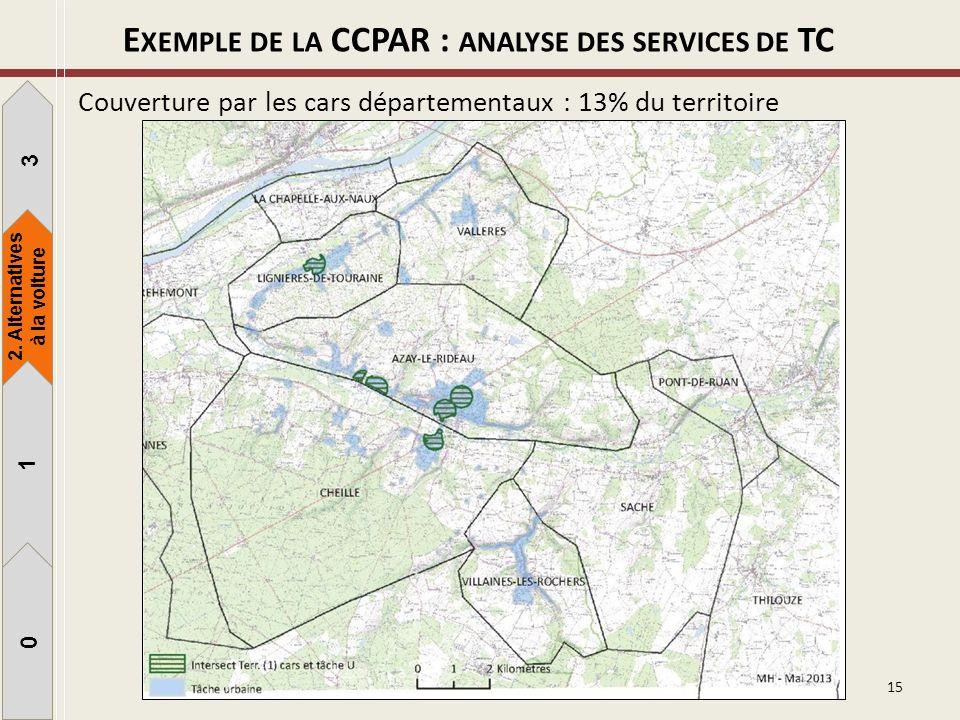 15 Couverture par les cars départementaux : 13% du territoire 1 3 1 0 2. Alternatives à la voiture E XEMPLE DE LA CCPAR : ANALYSE DES SERVICES DE TC