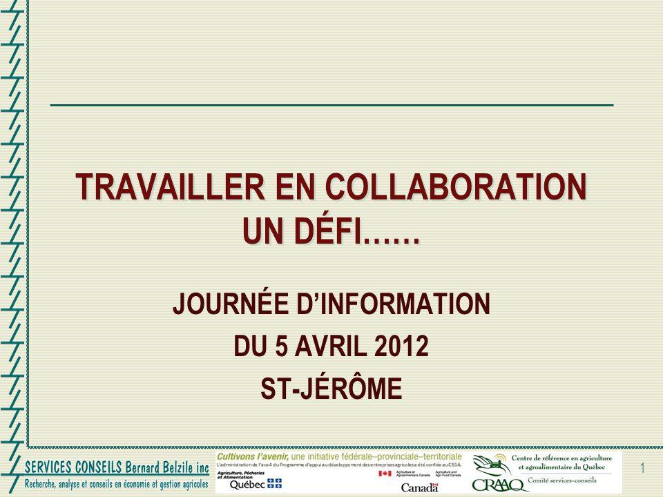 TRAVAILLER EN COLLABORATION UN DÉFI…… JOURNÉE DINFORMATION DU 5 AVRIL 2012 ST-JÉRÔME 1