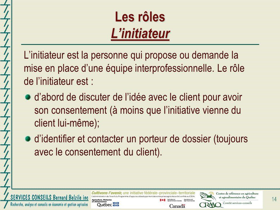 Les rôles Linitiateur Linitiateur est la personne qui propose ou demande la mise en place dune équipe interprofessionnelle. Le rôle de linitiateur est