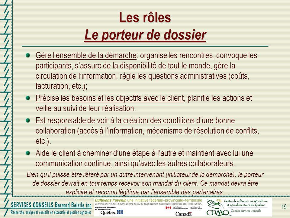 Les rôles Le porteur de dossier Gère lensemble de la démarche: organise les rencontres, convoque les participants, sassure de la disponibilité de tout