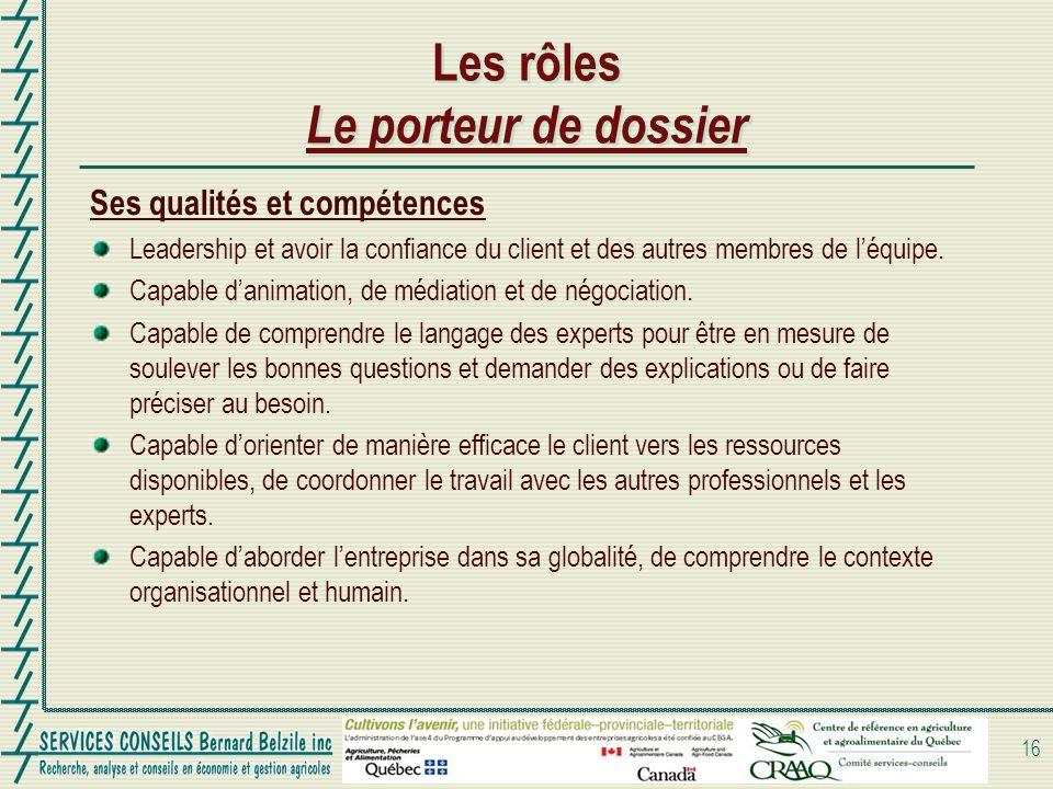 Les rôles Le porteur de dossier Ses qualités et compétences Leadership et avoir la confiance du client et des autres membres de léquipe. Capable danim