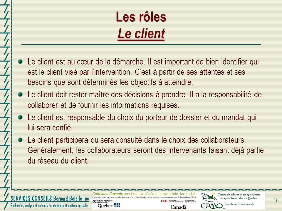 Les rôles Le client Le client est au cœur de la démarche. Il est important de bien identifier qui est le client visé par lintervention. Cest à partir