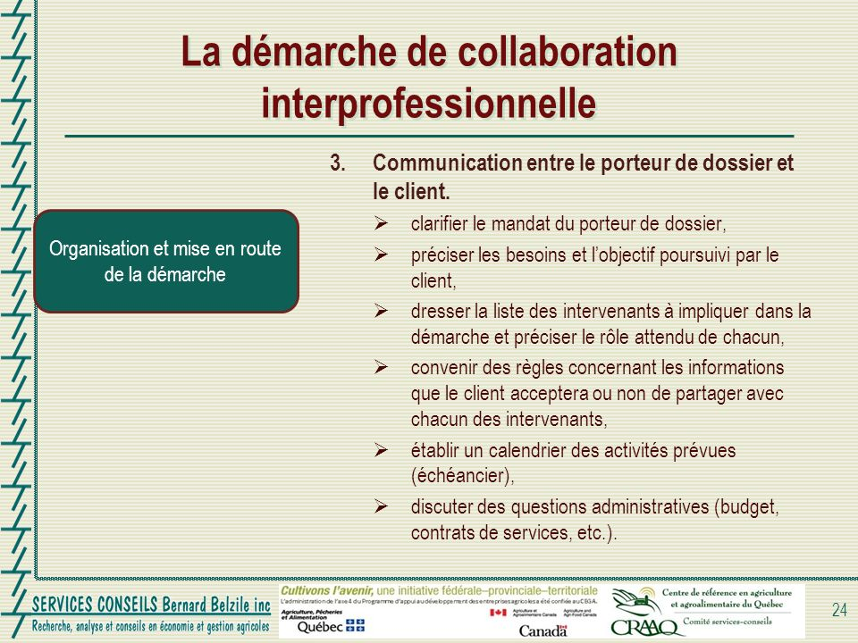 La démarche de collaboration interprofessionnelle 24 Organisation et mise en route de la démarche 3. Communication entre le porteur de dossier et le c
