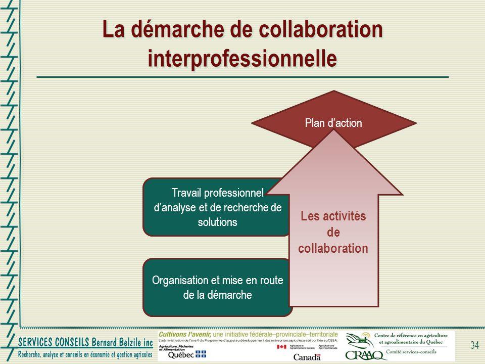 Travail professionnel danalyse et de recherche de solutions La démarche de collaboration interprofessionnelle 34 Organisation et mise en route de la démarche Plan daction Organisation et mise en route de la démarche Les activités de collaboration