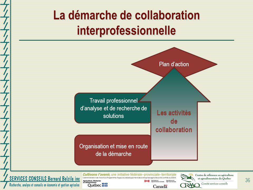 Travail professionnel danalyse et de recherche de solutions La démarche de collaboration interprofessionnelle 36 Organisation et mise en route de la d