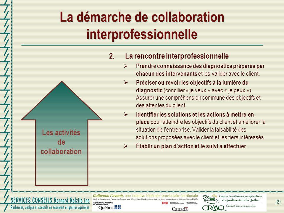 2.La rencontre interprofessionnelle Prendre connaissance des diagnostics préparés par chacun des intervenants et les valider avec le client. Préciser