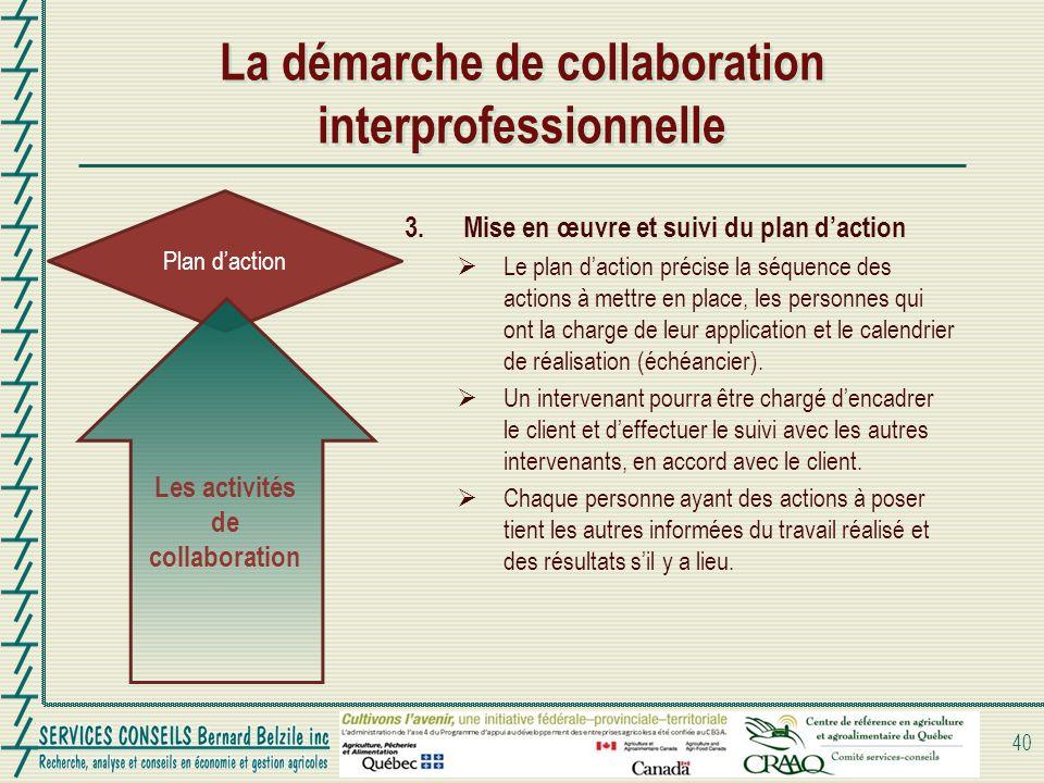 Plan daction La démarche de collaboration interprofessionnelle 40 Les activités de collaboration 3.Mise en œuvre et suivi du plan daction Le plan dact