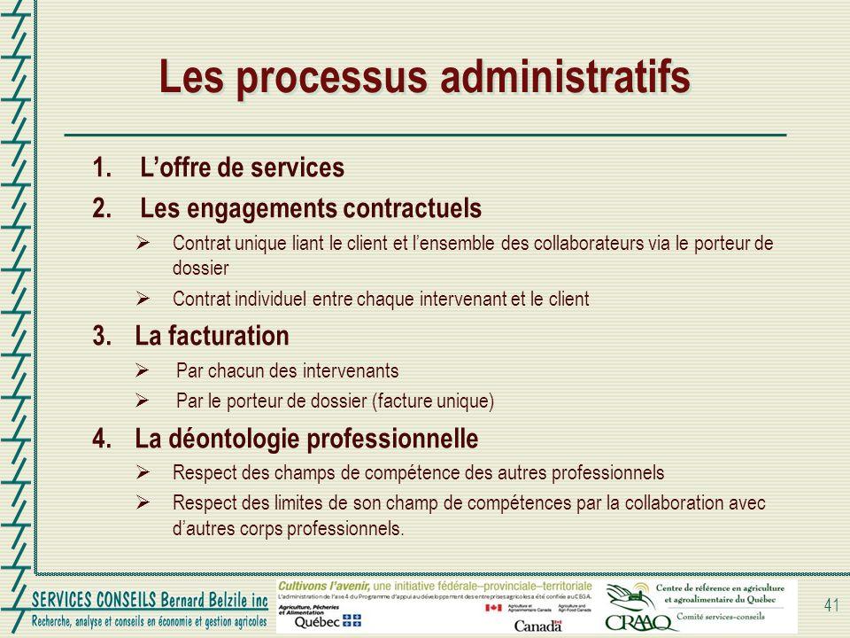 Les processus administratifs 41 1.Loffre de services 2.Les engagements contractuels Contrat unique liant le client et lensemble des collaborateurs via