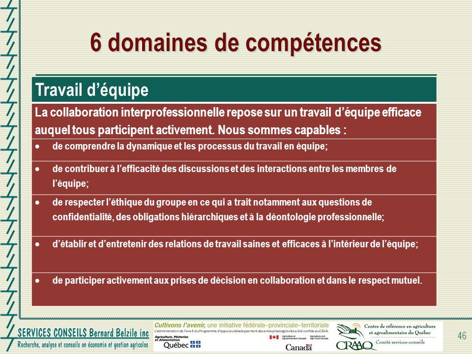 6 domaines de compétences 46 Travail déquipe La collaboration interprofessionnelle repose sur un travail déquipe efficace auquel tous participent acti