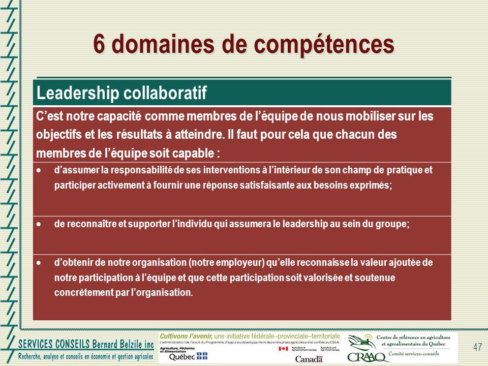6 domaines de compétences 47 Leadership collaboratif Cest notre capacité comme membres de léquipe de nous mobiliser sur les objectifs et les résultats à atteindre.