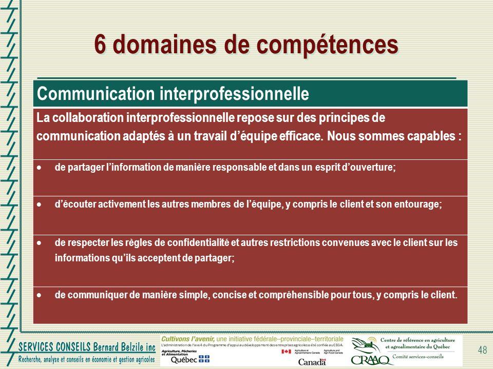 6 domaines de compétences 48 Communication interprofessionnelle La collaboration interprofessionnelle repose sur des principes de communication adapté
