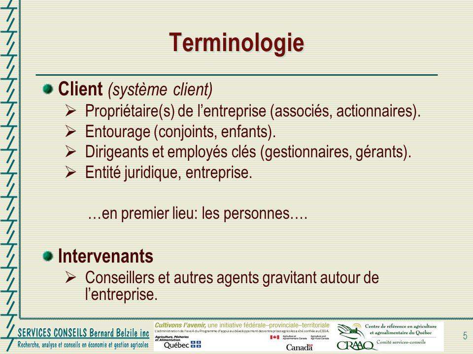 Terminologie Client (système client) Propriétaire(s) de lentreprise (associés, actionnaires). Entourage (conjoints, enfants). Dirigeants et employés c