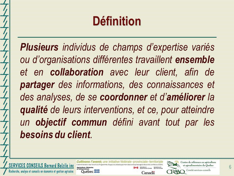 Définition Plusieurs individus de champs dexpertise variés ou dorganisations différentes travaillent ensemble et en collaboration avec leur client, af