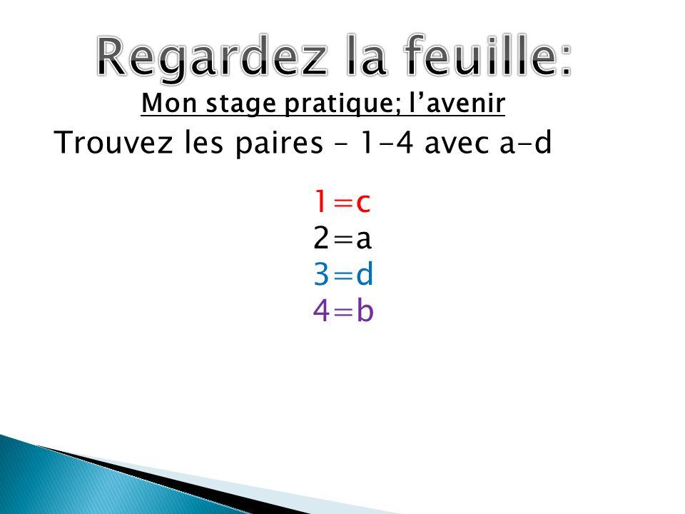 Mon stage pratique; lavenir Trouvez les paires – 1-4 avec a-d 1=c 2=a 3=d 4=b