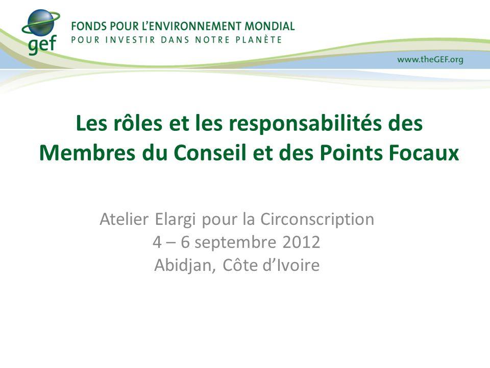Rôles des parties prenantes Examiner le rôle de chaque acteur à votre table concernant le FEM – Quelle est la responsabilité du membre du Conseil à légard de son groupe de pays.