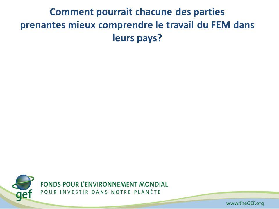 Comment pourrait chacune des parties prenantes mieux comprendre le travail du FEM dans leurs pays?