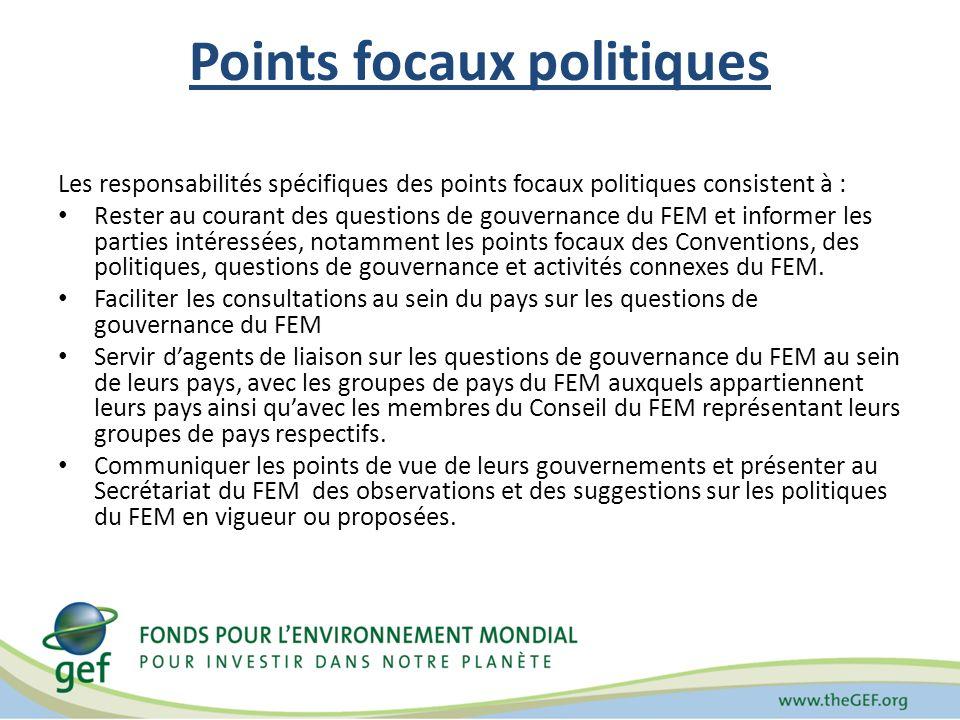 Points focaux politiques Les responsabilités spécifiques des points focaux politiques consistent à : Rester au courant des questions de gouvernance du