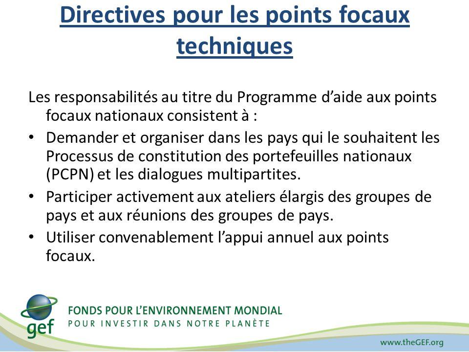 Directives pour les points focaux techniques Les responsabilités au titre du Programme daide aux points focaux nationaux consistent à : Demander et or
