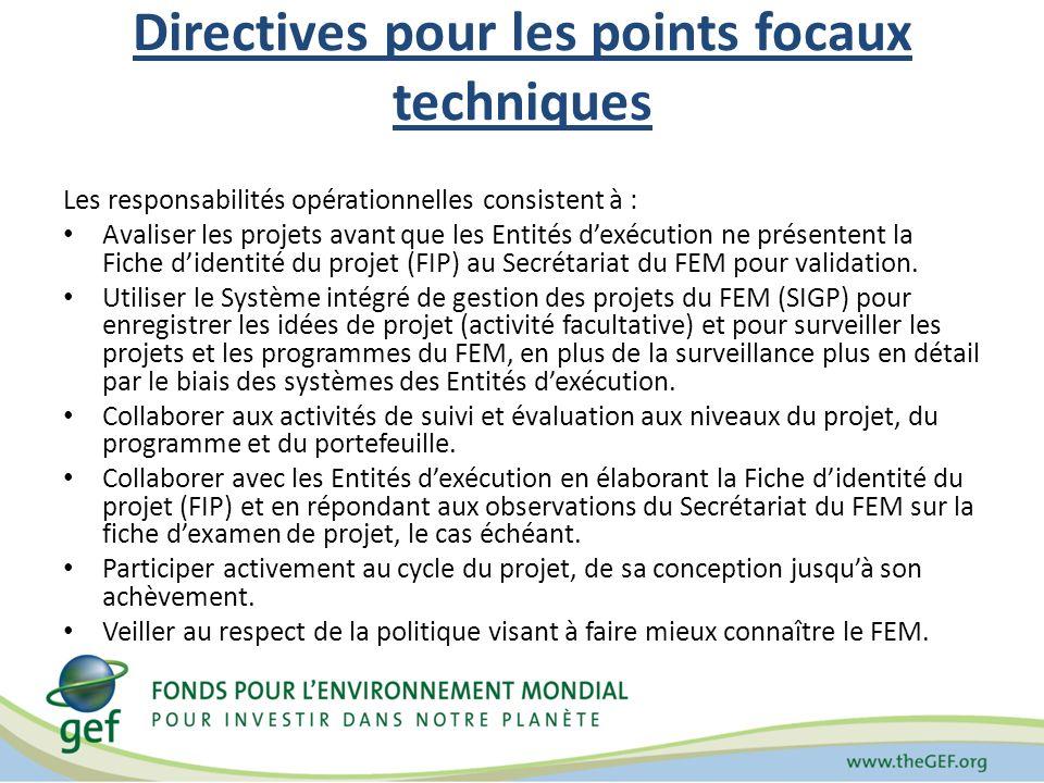 Directives pour les points focaux techniques Les responsabilités opérationnelles consistent à : Avaliser les projets avant que les Entités dexécution