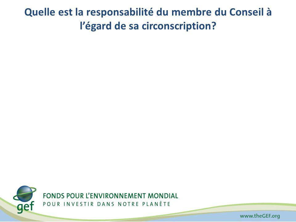 Quelle est la responsabilité du membre du Conseil à légard de sa circonscription?