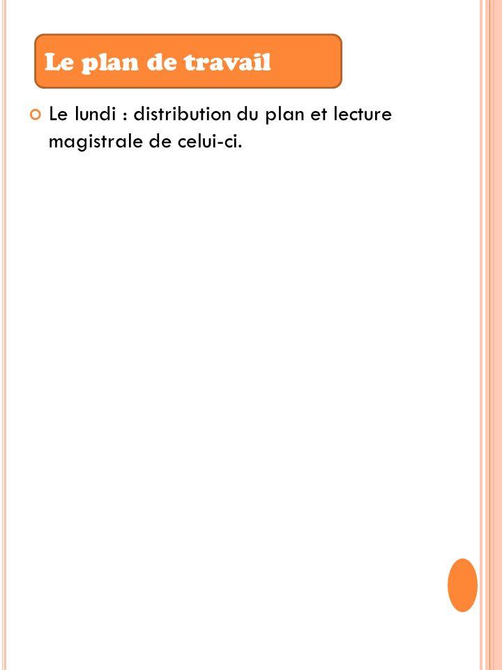Le lundi : distribution du plan et lecture magistrale de celui-ci. Le plan de travail