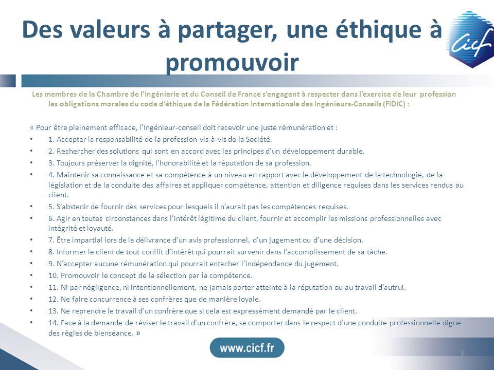 Des valeurs à partager, une éthique à promouvoir Les membres de la Chambre de lIngénierie et du Conseil de France sengagent à respecter dans lexercice