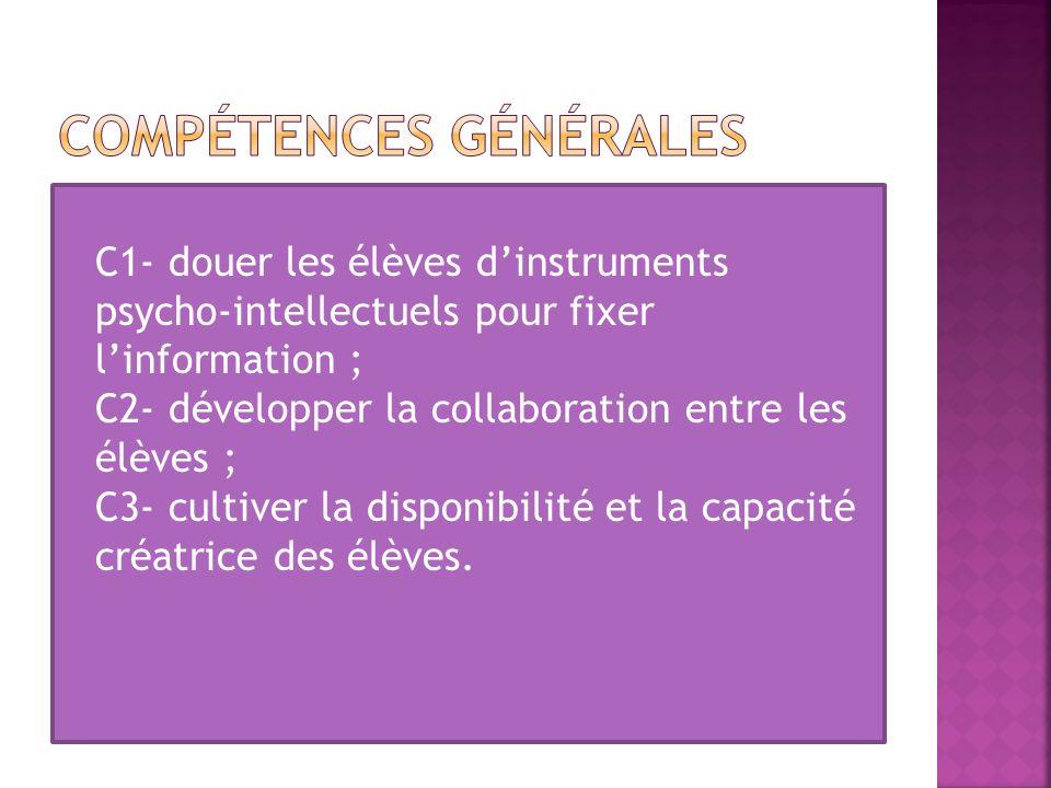 C1- douer les élèves dinstruments psycho-intellectuels pour fixer linformation ; C2- développer la collaboration entre les élèves ; C3- cultiver la di