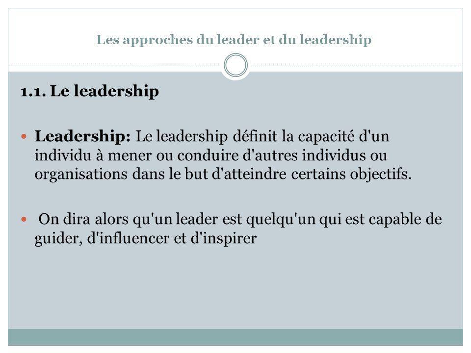 Les approches du leader et du leadership 1.1.
