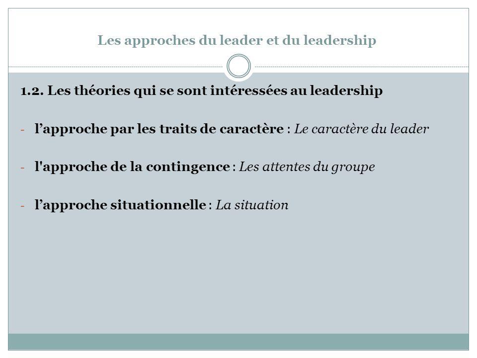 Les approches du leader et du leadership 1.2.