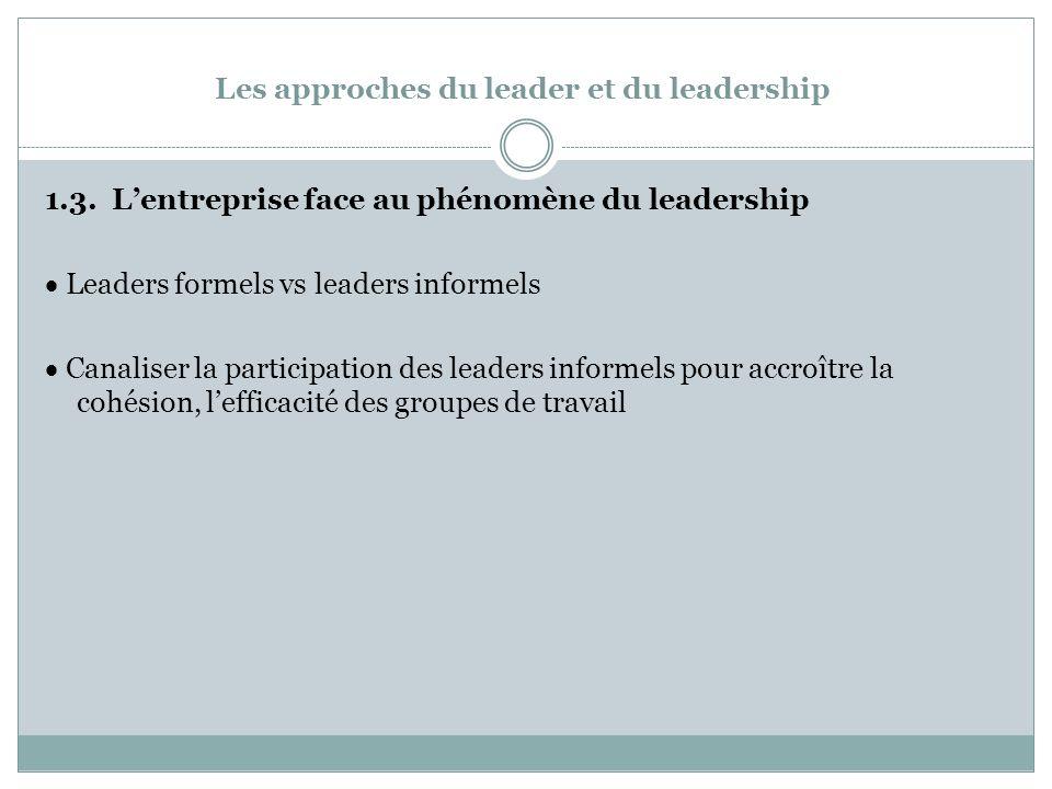 Les approches du leader et du leadership 1.3.