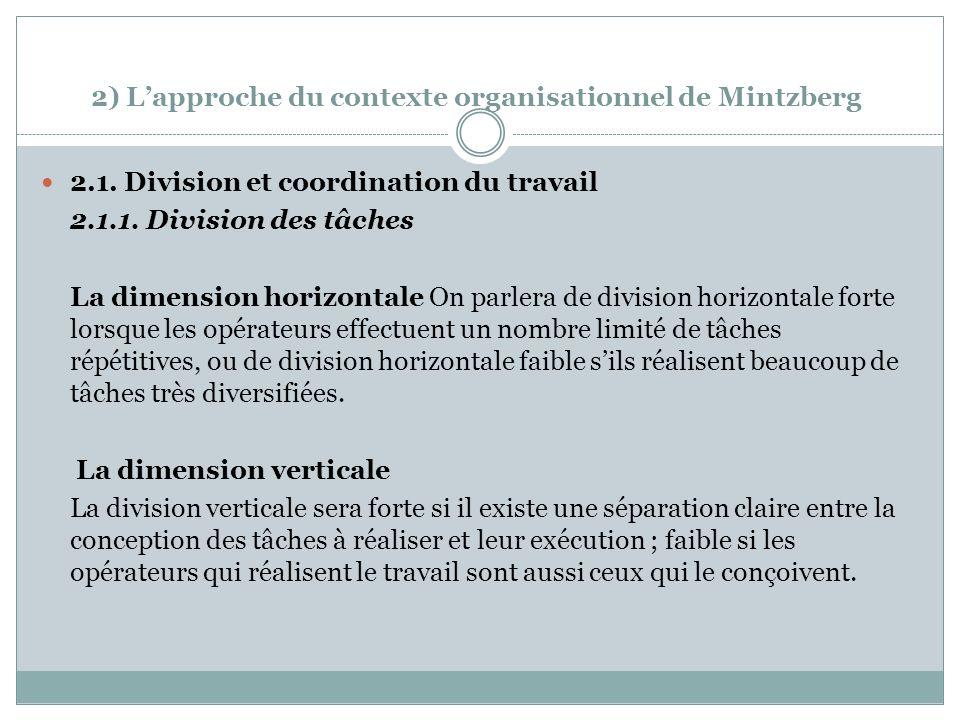 2) Lapproche du contexte organisationnel de Mintzberg 2.1.