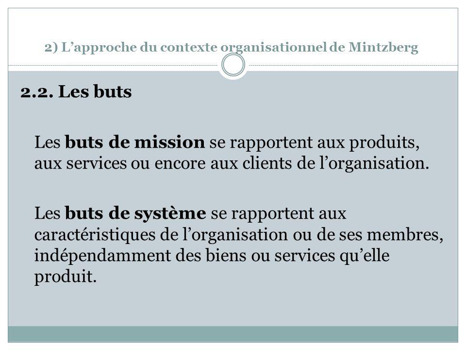 2) Lapproche du contexte organisationnel de Mintzberg 2.2.