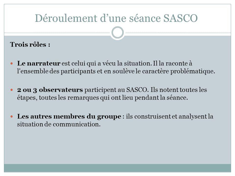 Déroulement dune séance SASCO Trois rôles : Le narrateur est celui qui a vécu la situation.