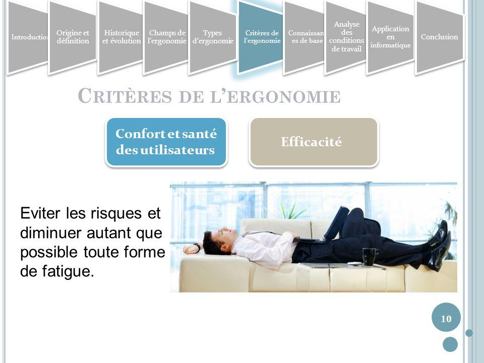 10 C RITÈRES DE L ERGONOMIE Confort et santé des utilisateurs Efficacité Eviter les risques et diminuer autant que possible toute forme de fatigue.